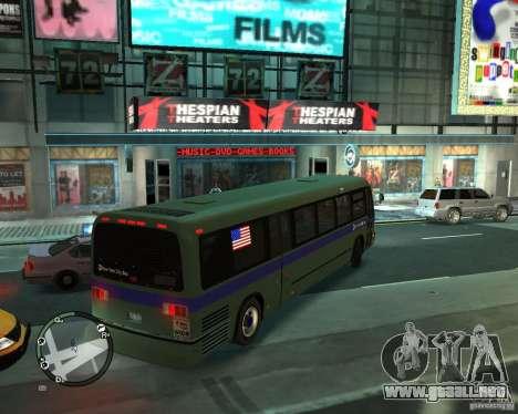 MTA NYC bus para GTA 4 Vista posterior izquierda