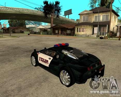 Bugatti Veyron policía San Fiero para GTA San Andreas left