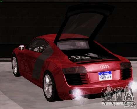 Audi R8 Production para GTA San Andreas vista posterior izquierda