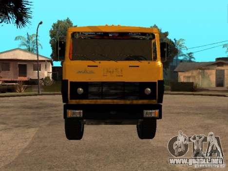 CAMIÓN DE BASURA MAZ 54323 para GTA San Andreas vista posterior izquierda