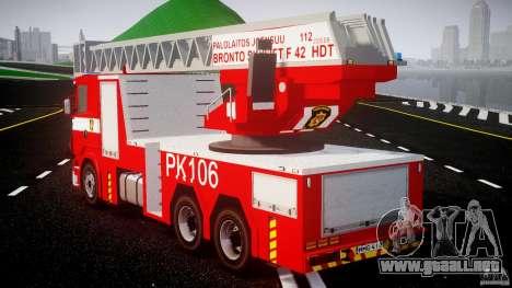 Scania R580 Fire ladder PK106 [ELS] para GTA 4 Vista posterior izquierda