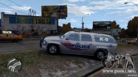 Chevrolet Suburban 2006 Police K9 UNIT para GTA 4 left