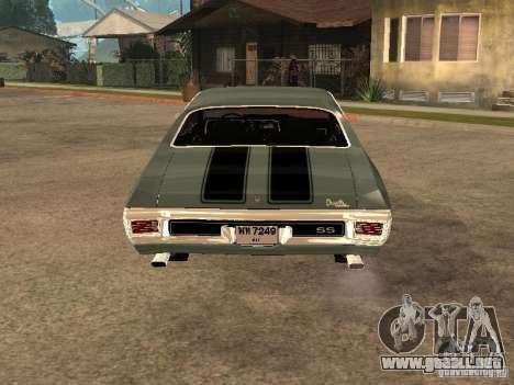 Chevrolet Chevelle SS 454 1970 para GTA San Andreas vista posterior izquierda