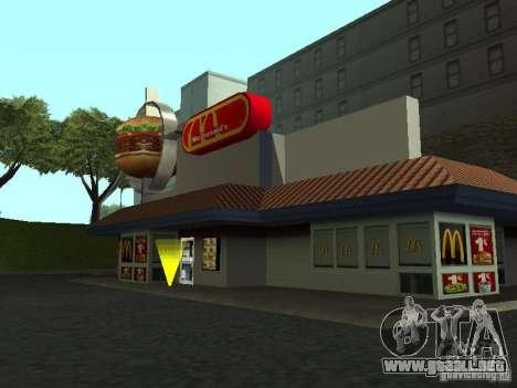 Mc Donalds para GTA San Andreas sucesivamente de pantalla