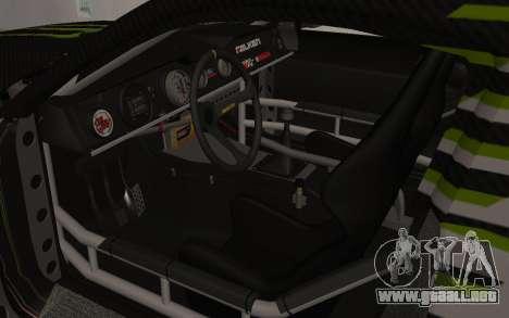 Ford Mustang GT Falken Monster 2010 v2.0 para GTA San Andreas vista hacia atrás