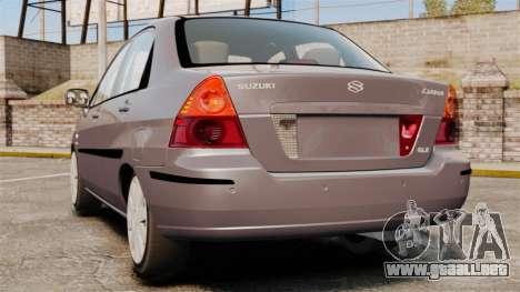 Suzuki Liana GLX 2002 para GTA 4 Vista posterior izquierda