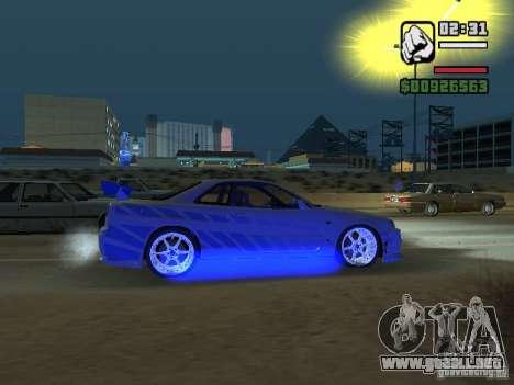 Nissan Skyline GTR34 FNF2 para GTA San Andreas vista posterior izquierda