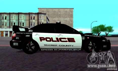 Subaru Impreza WRX STI Police Speed Enforcement para la visión correcta GTA San Andreas