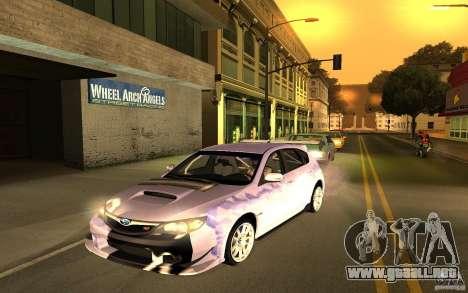 Subaru Impreza WRX STI 2008 Tunable para GTA San Andreas vista hacia atrás