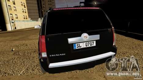 Cadillac Escalade 2007 v3.0 para GTA 4 vista hacia atrás