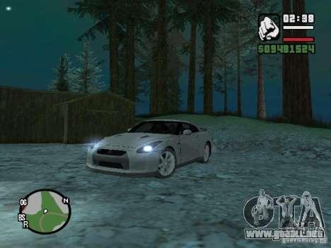 Nissan Skyline GTR para GTA San Andreas vista posterior izquierda