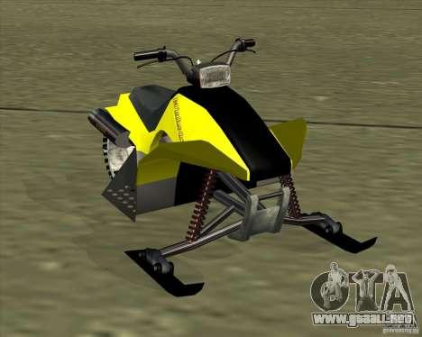 Snowmobile para GTA San Andreas vista posterior izquierda
