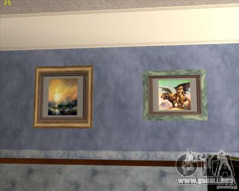 Pinturas en la casa de CJ para GTA San Andreas sucesivamente de pantalla