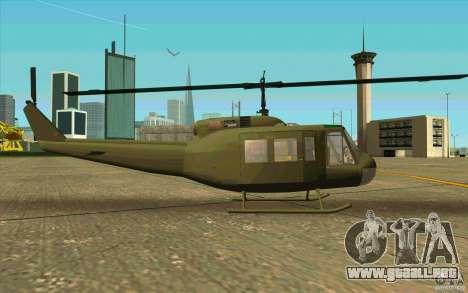 UH-1D Slick para GTA San Andreas vista posterior izquierda