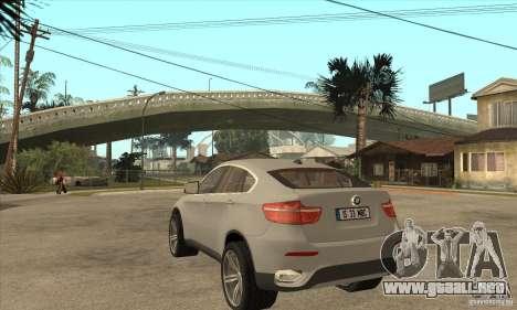 BMW X6 para GTA San Andreas vista posterior izquierda