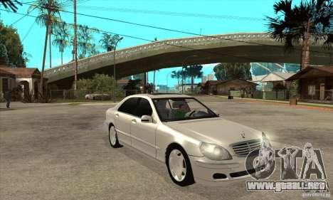 Mercedes Benz S600 para GTA San Andreas vista hacia atrás