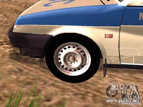 VAZ 2109 policía para GTA San Andreas vista posterior izquierda
