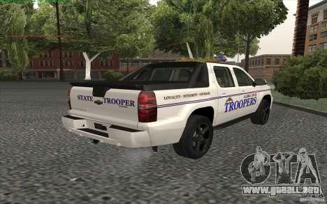 Chevrolet Avalanche Police para GTA San Andreas left