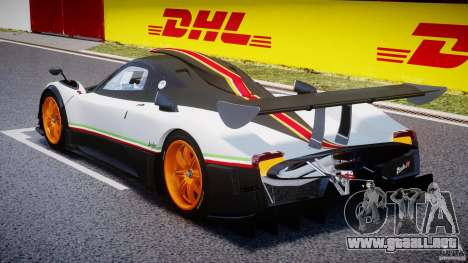 Pagani Zonda R 2009 Italian Stripes para GTA 4 Vista posterior izquierda
