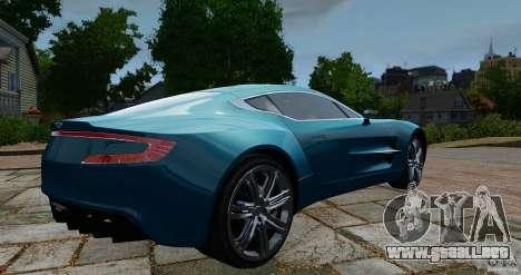 Aston Martin One-77 2012 para GTA 4 Vista posterior izquierda