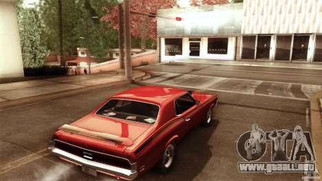 Mercury Cougar Eliminator 1970 para GTA San Andreas vista posterior izquierda