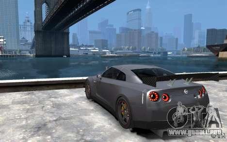 Nissan GT-R v1.1 Tuned para GTA 4 Vista posterior izquierda