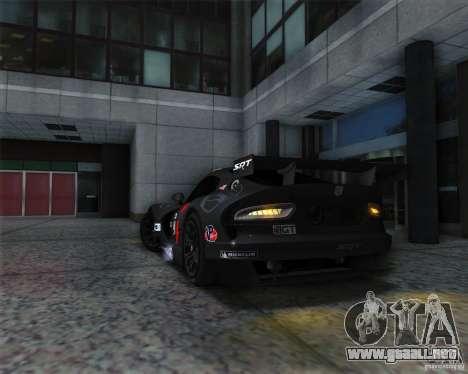 SRT Viper GTS-R V1.0 para GTA San Andreas vista hacia atrás