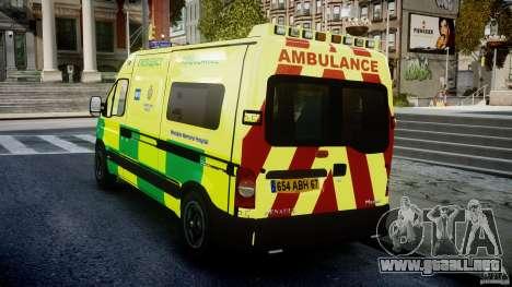 Renault Master 2007 Ambulance Scottish [ELS] para GTA 4 Vista posterior izquierda