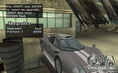 Mercedes-Benz CLK GTR road version (v2.0.0) para GTA San Andreas vista hacia atrás