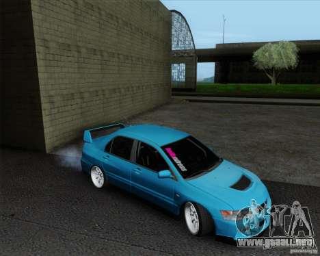 Mitsubishi Lancer Evolution VIII JDM Style para GTA San Andreas vista posterior izquierda