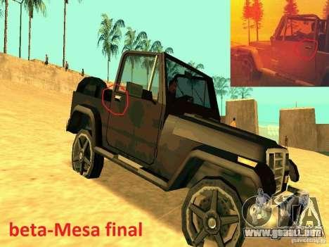Mesa From Beta Version para la visión correcta GTA San Andreas