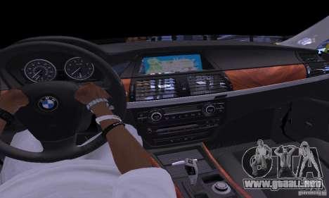 BMW X5M oro para visión interna GTA San Andreas