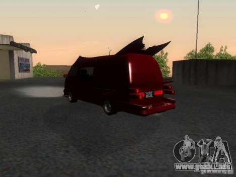 Toyota Hiace Vanning para GTA San Andreas vista posterior izquierda