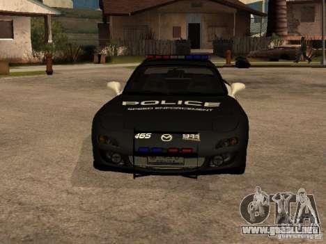 Mazda RX-7 Police para GTA San Andreas vista hacia atrás