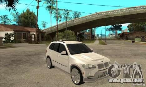 BMW X5 E70 Tuned para GTA San Andreas vista hacia atrás