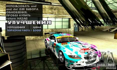 BMW Z4 E85 M GT 2008 V1.0 para vista inferior GTA San Andreas