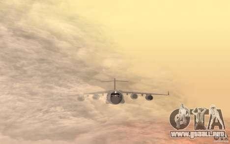 C-17 Globemaster III para GTA San Andreas vista posterior izquierda