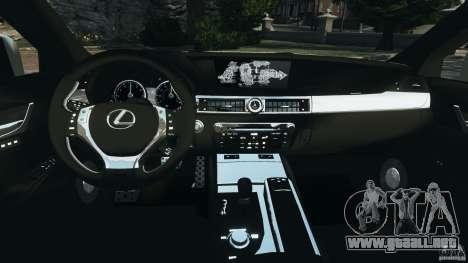 Lexus GS350 2013 v1.0 para GTA 4 vista hacia atrás