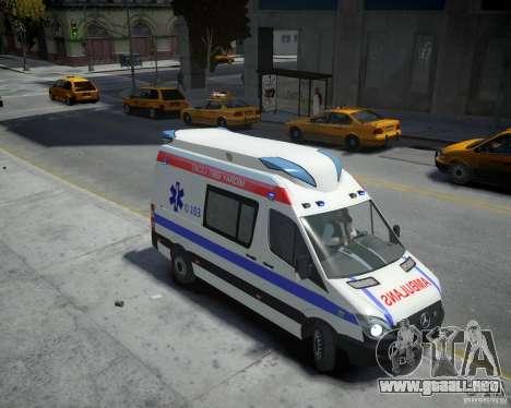Mercedes-Benz Sprinter Azerbaijan Ambulance v0.2 para GTA 4 visión correcta