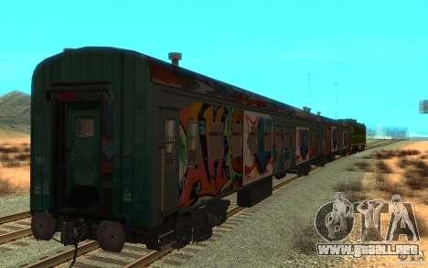 New Graffity Train para GTA San Andreas vista posterior izquierda