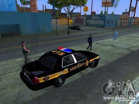 Ford Crown Victoria Erie County Sheriffs Office para GTA San Andreas vista posterior izquierda