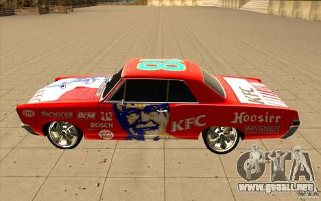 Pontiac GTO 1965 NFS Pro Street con vinilos nuev para la vista superior GTA San Andreas