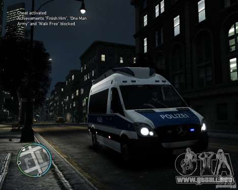 Mercedes Sprinter German Police para GTA 4 left