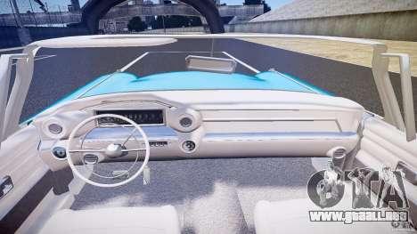 Cadillac Eldorado 1959 interior white para GTA 4 vista desde abajo