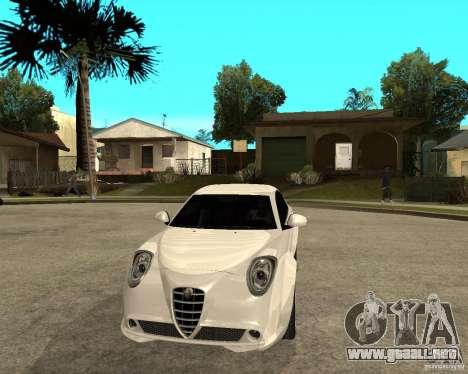 Alfa Romeo Mito para GTA San Andreas vista hacia atrás