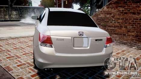 Honda Accord 2009 para GTA 4 Vista posterior izquierda