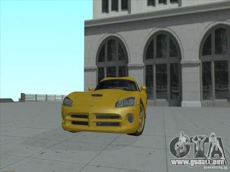 Dodge Viper SRT-10 (víbora de oro) para GTA San Andreas vista posterior izquierda