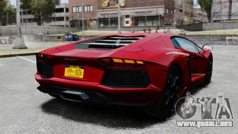 Lamborghini Aventador LP700-4 2012 v2.0 EPM para GTA 4 Vista posterior izquierda