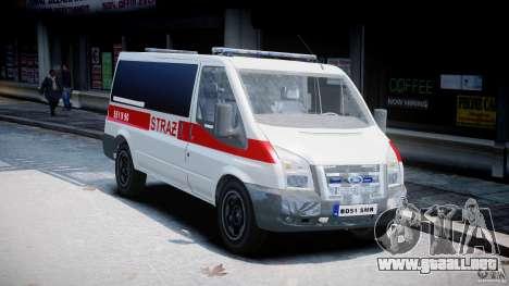 Ford Transit Polish Firetruck [ELS] para GTA 4 visión correcta