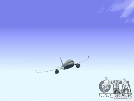 Boeing 757-200 United Airlines para GTA San Andreas vista posterior izquierda